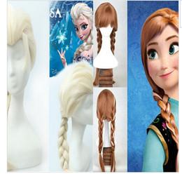 Wholesale Frozen wig popular cartoon girl Hair Wigs children Cosplay Wigs Elsa Anna princess white fluffy long hair single