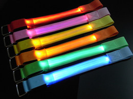 Wholesale LED Flashing Light Glowing Wrist Band Arm Bracelet Strap LED Armbrand USB Charge Reflective Best For Outdoor Sport Safty Guand