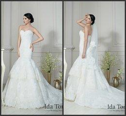 Wholesale Mermaid Sweetheart Neckline Wedding Dresses Ida Torez KR Sleeveless White Appliques Lace Tiers Bridal Gowns Court Train Adel
