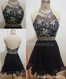 Wholesale 2015 Nail Drill Sleeveless Knee Length Skirt Seam Bead Unbacked Chiffon Hang Neck Black Cocktail Dress Cheap And Fine