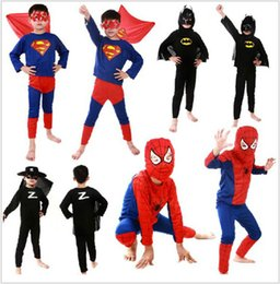Wholesale Kids Children Girls Boys Baby Costume Clothing Set Clothes Spiderman Batman Superman Zorro Cosplay Show Christmas cosplay
