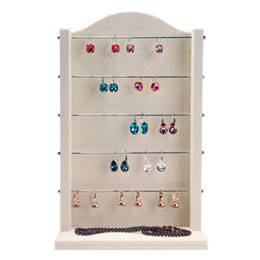 High-grade Linen Earrings Ring Bracelet Jewelry Display Stand Holder Rack Five Layer Metal Necklace Storage Organizer Boards