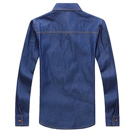 Mens Slim Cotton Denim Shirts Blue and Leisure Shirts with A Poket