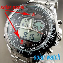 Wholesale Men s Fashion Solar Powered Wristwatches Top Sports Watches Full Steel M Waterproof Analogue Digital LED Military Watches