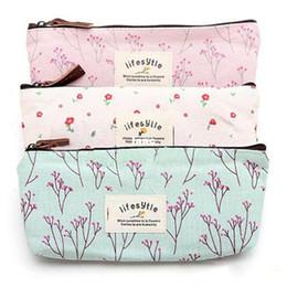 Wholesale Flower Floral Pencil Pen Canvas Case Cosmetic Makeup Tool Bag Storage Pouch Purse
