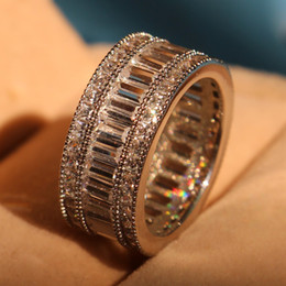 Free shipping Princess cut white Topaz Diamonique Simulated Diamond 10KT White Gold Filled Engagement Wedding Band Ring Size 5-11