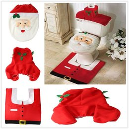 Wholesale 30pcs Christmas Decorations Santa Toilet Seat Cover and Rug Set Bathroom Set