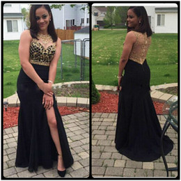 2020 Sparkly Gold Beaded Prom Dresses Black Straight Side Silt Long Prom Gown Women Sheer Back Sexy Party Dresses