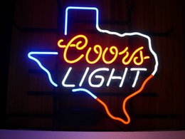 Wholesale NEW COORS LIGHT TEXASY NEON SIGN REAL GLASS TUBE BEER BAR PUB Neon Light Signs store display