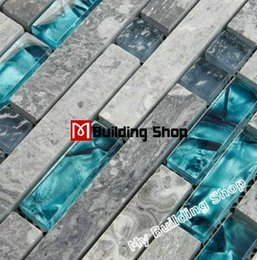 Wholesale Blue glass wall tile SGMT026 grey stone bathroom tiles glass stone mosaic kitchen backsplash tiles