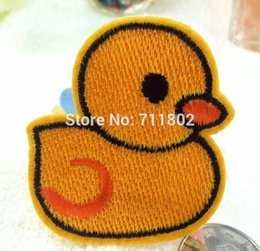Wholesale lovely a yellow duck iron on patch animated cartoon patches clothing accessories Embroidered kids stickers