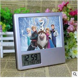 Wholesale New LED Digital Alarm Clock Frozen Anna Elsa Multifunctional Photo Album Pencil Vase Calendar Clock Music Alarm Desk Clock LJJC1659