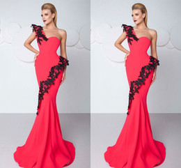 2018 Sexy Red Mermaid Prom Dresses one Shoulder Sweep Train Women evening Gowns Applique Lace Made In China Elegant Party Gown