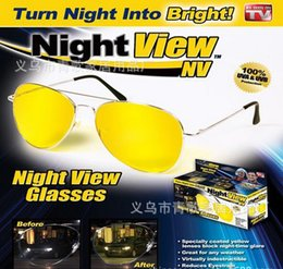 Wholesale Top hot sell UV400 TV HD Night View NV Glasses night vision Glasses prevent glare noctilucent driving Polarized sunglasses TV free ship