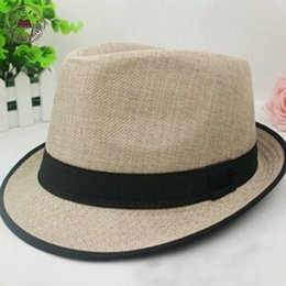 Wholesale-New Stylish Men's Fedora Hat Summer Jazz Fedoras Hat For Men classic neon color linen fedoras for boys and girls