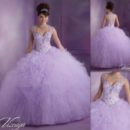 Wholesale Vestido De Debutante Para Anos Lavender Ball Gowns Quinceanera Dresses Tulle Cap Sleeve Beaded Crystals Prettiest Puffy Sweet Dress