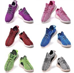 Wholesale 2015 New summer men and woman Yeezy Kanye West Boost Low shoe grey green blue red black pink casual sneaker size36 hot frees hipping
