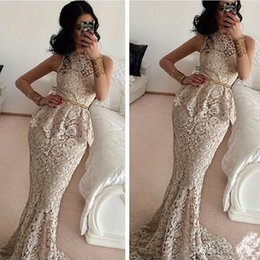 2017 New Ivory Lace Evening Dresses with Gold Sequins Sash Peplum Mermaid Prom Party Gowns Custom Vestido De Soiree