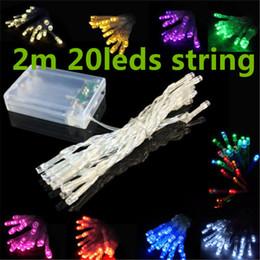 Luces de hadas blancas con pilas en Línea-3XAA batería 2m 20 LED String Mini farolillos batería Power operado puro/frío/calor blanco/azul/rojo/amarillo/verde/rosa/púrpura/2 metros