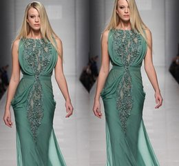 Wholesale 2016 Tony Wards Beaded Green Chiffon Evening Dresses Runway Floor Length Long Prom Dresses Ruched Luxury Mermaid Wedding Women Gowns