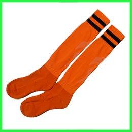 Wholesale 2015 New simple design orange color men s breathable soccer socks good quality football socks in stock