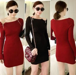 2014 New Fashion Sexy Women Long Sleeve Slash Neck Work Wear Fall Zipper Knit Office Dresses Sweater Club Knitted Dress