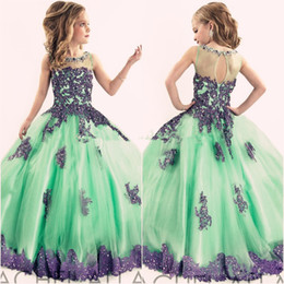 New Arrival 2016 Little Girls Pageant Dress Purple and Green Ball Gown Beads Lace Applique Floor Length Flower Girls Dress