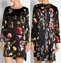 Fashion Flower Print Women Asymmetrical Dress Elegant Long Sleeve Pleated Dresses 15108110
