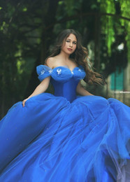 Cinderella Quinceanera Dresses Crystal Beads Princess Ball Gowns Formal Girl Dresses Bateau Neck Floor Length Tulle Plus Size Gowns