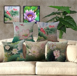 Wholesale Cotton Linen Thow Pillow Case Decorative Cushion Cover Square quot Chinese Style Antique Printed Lotus