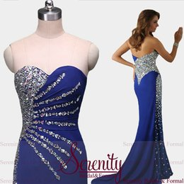 Wholesale Real Photos Royal Blue Party Dresses Vestidos Con Pedreria Mermaid Dresses Sweetheart Beading Chiffon Long Prom Dresses