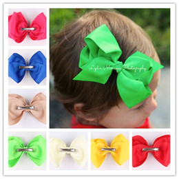 2015 Chic Grosgrain Ribbon Flowers With Clips Baby Boutique Hair Bows Girl Barrettes Children Christmas Hair Accessories