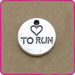 Wholesale Antique Silver Color Love To Run Round Tag Charms For Sport Runner AAC858