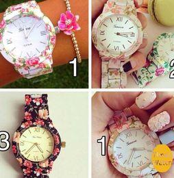 2015 New Plastic Flower Geneva Watches Fashion Women Ladies Dress Watches Quartz Watches Gift Watches For Christmas