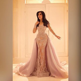 2016 Long Sleeved Lace Evening Dresses with Organza Over Skirt Mermaid Illusion Slit Skirt and Sheer Full Sleeves
