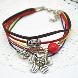 Vintage Retro Tibetan Style Multilayer Braided Rope Alloy Daisy Flower Pendant Bracelets Hand Chain Jewelry Y50*SS1045#M5