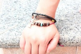 Wholesale Promotional Discounts Leather Beaded Bracelets With Cross Jesus Bracelet Christian Jewelry DHL Trendly