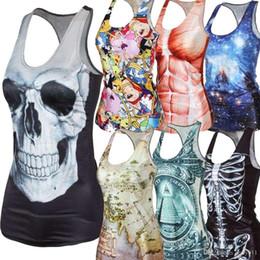 Summer new 2016 women t-shirt 3D Vest tops Skull Harajuku Camisole Sexy