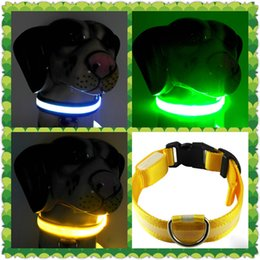 Wholesale Comfortable LED Flash Light dog collars and leashes universal Optical fiber feed pet accessories colors in dark S M L XL BH005