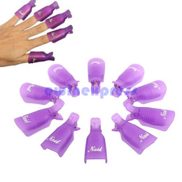 Wholesale 10Pcs Beauty Acrylic Nail Art Smart Soak Off Clip Cap UV Gel Polish Remover Wrap White Purple