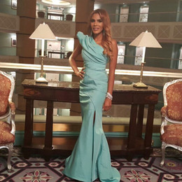 2015 Cheap Sheath Evening Dresses New Arrival One Shoulder Ruched Side Split Sweep Train Occasion Gowns