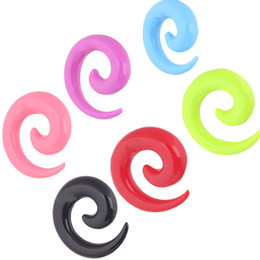 Ear flesh tunnel F35 100 pcs lot Mix 7 Color 8size Piercing Jewelry Ear Expander Acrylic Spiral Ear Plug P33