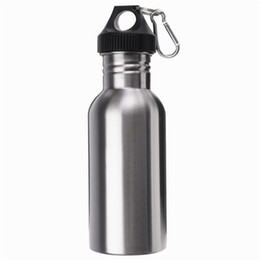 Durable 500ML High Quality Stainless Steel Wide Mouth Water Bottle With Carry Outdoor Carabiner Sporting Water Bottle Water Cup 2016