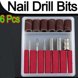 Wholesale-Professional 6pcs Nail Drill Bits file For Electric Drills & Filling Manicure Machine Tool P1