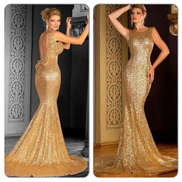 New Fashion 2016 Sparkly Gold Mermaid Prom Dresses with Bateau Open Back Bow Court Train Sequins Evening Prom Gown