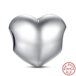 Big Smooth Heart Silver Charms for Pandora Style Bracelets S255