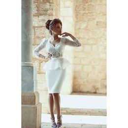 Wholesale Knee Length Sexy Trumpet Wedding - 2015 New Arrival Sexy Short Wedding Dresses Sheath Knee Length Long Sleeves Bridal Dress Custom Made
