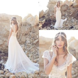 Wholesale Amazing Beach Anna Campbell Wedding Dresses With Court Train Real Photo Fancy Crystal And Beaded High Quality Chiffon Bridal Gowns