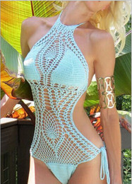 High quality crochet swimsuit solid color black white blue red crochet bikini hollow out sexy crochet bathing suits One Piece Bikini