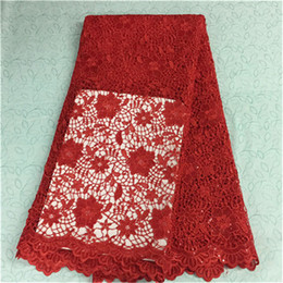 Luxury red flower design french guipure lace with sequins african water soluble lace fabric for party BW43-2,5yards pc